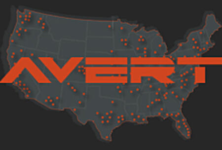 AVERT logo over map
